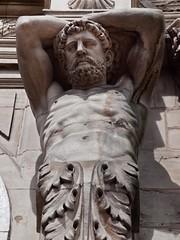 Wall Art (katrin glaesmann) Tags: england sculpture man building stone beard support sheffield atlas curlyhair halfnaked tragenderolle