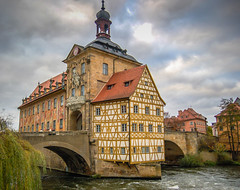 Altes Rathaus on the Obere Brcke over the Regnitz River in Bamberg Germany (mbell1975) Tags: world old city bridge cloud building heritage fall river germany bayern deutschland bavaria town hall site cloudy cityhall main over eu bamberg unesco german government townhall brcke rathaus altstadt oldtown deutsch whs altes bayer regnitz obere