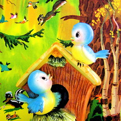Vintage Bird Bank (Picnic by Ellie) Tags: blue green bird nature yellow illustration forest vintage birdhouse bank bluebird