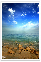Sky-Sea Debate (Hussain Shah.) Tags: blue sea sky beach clouds d50 nikon rocks sigma shore kuwait 1020mm polarizer debate shah hussain muwali