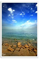 Sky-Sea Debate (Hussain Shah.) Tags: blue sea sky beach clouds d50 nikon rocks sigma shore kuwait 1020mm polarizer debate shah hussain muwali