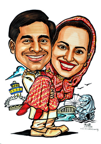 Couple caricatures Indian wedding Sinapore