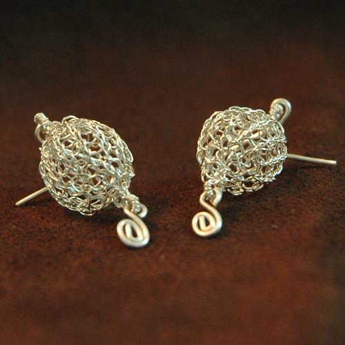 Romantic silver ball earrings 1