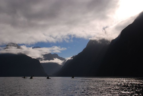 Sea kayaking at Milford Sound