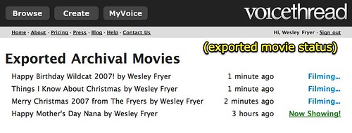 VoiceThread - exported movie status