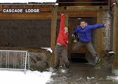 The Cascade Lodge Jump (ricko) Tags: snow jump jumping woody son grandson yellowstonenationalpark hunter wyoming cascadelodge