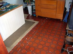 Guest room - stick-on floor tiles