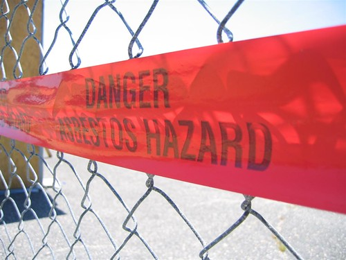 Danger: Asbestos Hazard warning tape