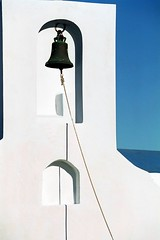Bell and sea (Marite2007) Tags: travel blue light sky white color colour church vertical bells outside religious outdoors greek islands shadows exterior details religion shapes churches belltower greece temples daytime simple pure serifos cyclades belfries