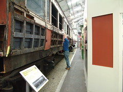 Here l am taking the previous pic! (friskierisky) Tags: man guy museum scotland ray photographer railway vehicle past steamengine picturetaking oldtrain carriages rollingstock insidetrain beforerestoration oldlocomotive yellowtransport