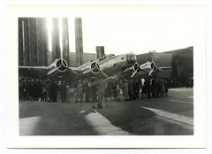 Boeing YB-17 / Y1B-17 1939 (UberJ) Tags: sanfrancisco bw film airplane aluminum experimental aircraft wwii b17 prototype boeing bomber flyingfortress foundphoto 1939 warbird goldengateinternationalexposition ggie y1b17 yb17