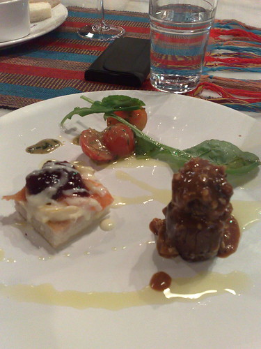 Andalucian style meatballs, salmon pikelettes and aubergine