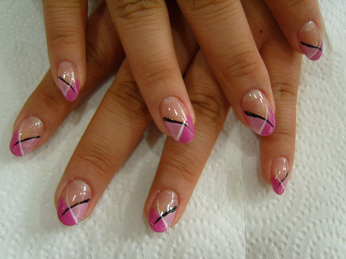 Mila Kunis Pink French Style Nail Art Design