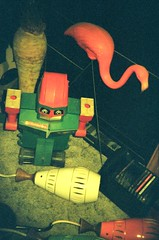 robot commando (EllenJo) Tags: arizona film goofy vintage holga lomo flamingo az kitsch historic collection jerome ricky artifacts colorflash verdevalley oldtoys holga35mm holga135 jeromeaz colorflashsplash holga135bc rvlovelace movieniteatrickys