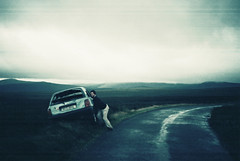 Crashed Car (Cormac Phelan) Tags: road ireland mist mountain film car 35mm lomo lca lomography crash lka wicklow joyride phelan cormac