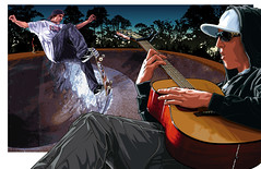 Oakley Greg Lutzka Art [Ad 12] (Mel Marcelo) Tags: sunglasses illustration poster artwork vectorart guitar skating ad shades skate oakley skateboarder grafx adobeillustrator magazinead proskater greglutzka paulschulte melmarcelo meltendo mpyregraphics melitomarcelo