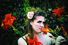 Nimph (Changing World Photography) Tags: pink blue red green girl rose yellow garden sticks rainbow secret feathers makeup ivy lovely yello nimp