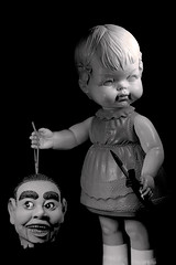 Creepy Doll Decapitation in Black (Charlie the Cheeky Monkey) Tags: lighting strange canon weird doll head odd freak gore horror talking whatthehell mutilation decapitation creepydoll