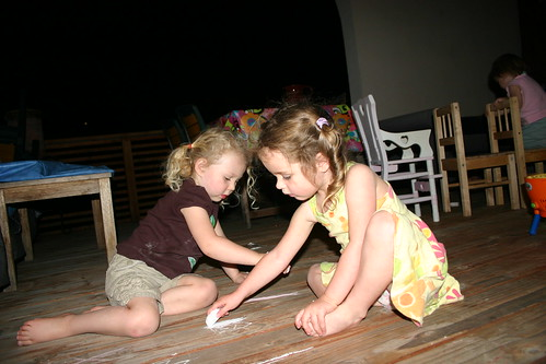 drawing on the deck with Ella