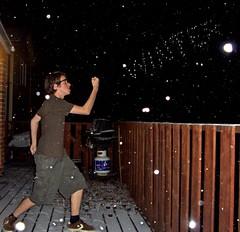 Bring it on. (Brendan½) Tags: november winter house snow toronto canada home me leaves sunglasses night photoshop glasses flash gimp deck human converse etobicoke shorts barbeque