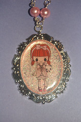 Cute Girl Necklace, close up (Kira83) Tags: pink girl necklace handmade girly rosa creazioni pearls resin resina pendant collane creations pendenti cammeo