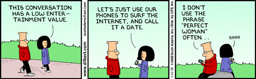 dilbert addicted to the internet on a date