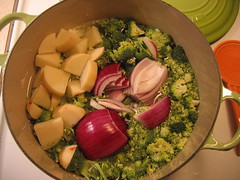 (lammoreaux) Tags: cooking soup broccoli homemade onion lecreuset dutchoven tessakiros applesforjam