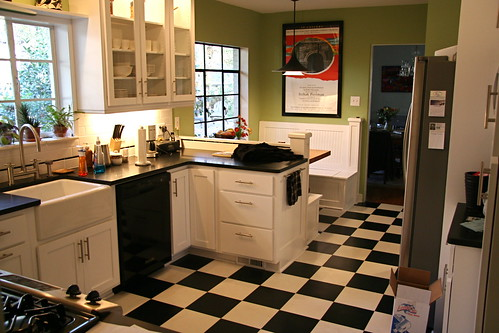 Bright Green Against The Black And White Tile Gives A Contemporary Retro  Feel