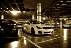 Sepia (j.hietter) Tags: auto show california roof white black car mercedes benz la garage parking wheels center 2008 motorsports staples platinum motorsport cls brabus