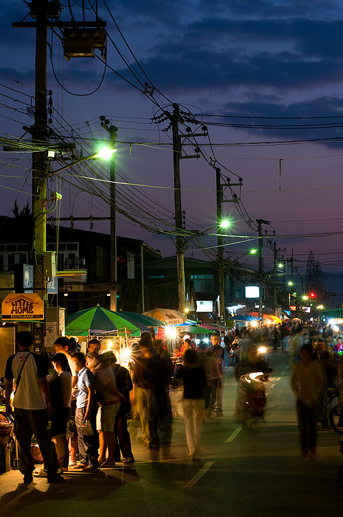 Main street, Pai, during the tourist season, Mae Hong Son, northern Thailand