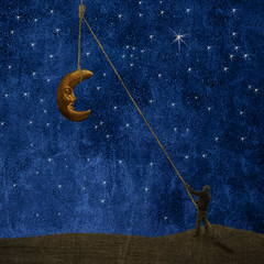 Moonrise (borealnz) Tags: sky moon man night square stars hill surreal rope pulley manray bsquare alarecherchedutempsperdu thankschildofgodbecky thanksvaneskathomz thankspaulgrandforthelovelymoonandforoneofthetextures borealnz