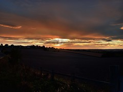 Warmfield Sunset (Osgoldcross Photography) Tags: road uk blue trees sunset shadow red orange sunlight field clouds ph