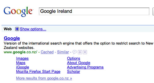 Google Ireland is Google New Zealand