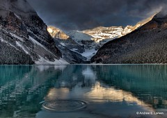 Dynamic Serenity (papalars) Tags: trees mountain lake snow canada mountains reflec