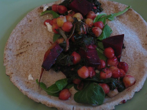 Chickpeas on pita bread