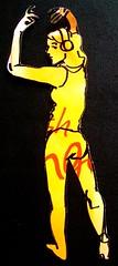 Look Back in Yellow Girl (littleoutrageous) Tags: selfportrait art cutout dance fight drawing drinks sharpie dancinggirl lcbo littleoutrage nicolelittle lcbosummerdrinkpamphlet