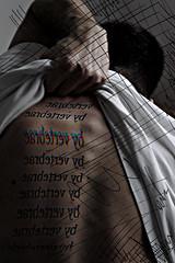 Vertebrae by vertebrae. (Lebeg) Tags: music selfportrait tattoo photoshop words back hand scanner scan musica mano beast autoritratto bjork behind volta tatuaggio schiena parole vertebrae bestia paroleparoleparole lebeg espressionidellanima vertebraebyvertebrae ohmaquantomidivertomale