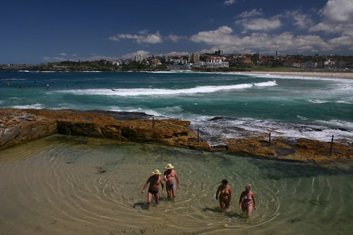 Bondi Beach and rock pools.