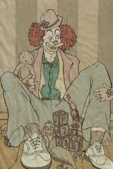 clown (nbright) Tags: childhood illustration digital vintage robot scary bedroom clown homeless bowtie bum dirty retro creepy suit gross jackinthebox teddybear whale ronaldmcdonald gacy linedrawing villian buildingblocks nicholasbright