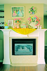 Spring Bling (boopsie.daisy) Tags: flowers color bunnies home colors painting easter spring fireplace colorful pretty tulips display books kitsch wreath pastels decor layla mantle dollies perky dreamingofspring posedolls dollfacedesign laylalove