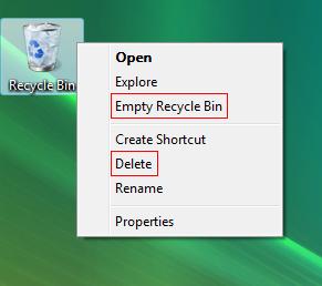 The contextual menu on Vista's Recycle Bin
