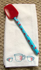 Tea Towel Swap (GoingSewCrazy) Tags: red kitchen crazy aqua sewing craft cups swap sublimestitching crafty spatula measuring teatowel swapbot embroidey