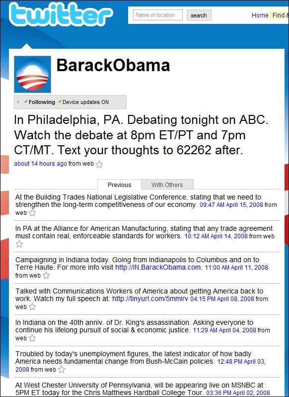 Barack Obama's Twitter Feed