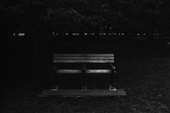a park bench (F_blue) Tags: tokyo fuji nikonf koganeipark  5012 neopan1600superpresto fblue2008