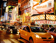 Times Square Traffic, Midnight (Jeff Wignall) Tags: nightphotography color night traffic taxis timessquare taxicabs wignall longexposures