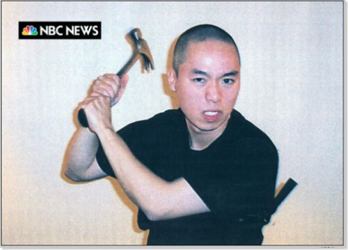Image of Cho Seung-Hui holding a hammer