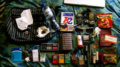 the contents of my bag. (osyenya) Tags: london beard hulahoops az nes oyster tictacs goldbears