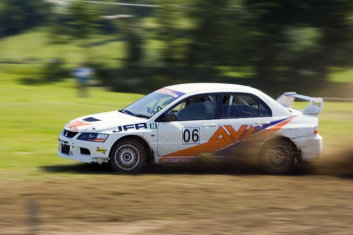 Speeding Rally Car