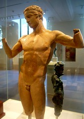 statuette of the Diadoumenos (youth tying a fillet around his head) (ggnyc) Tags: nyc newyorkcity sculpture newyork male museum youth nude ceramic greek gallery manhattan terracotta greece clay met athlete smyrna tying metropolitanmuseumofart statuette ancientgreece antiquity hellenistic fillet hellenisticart diadoumenos greekandromangalleries