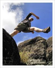 Jump! (HaukeSteinberg.com) Tags: chile southamerica canon polynesia jump jumping pacific pov pointofview hauke moai easterisland rapanui isladepascua ahu ranoraraku osterinsel sigma1770 400d sigma1770mmf2845dcmacro moaiquarry easterislandgallery